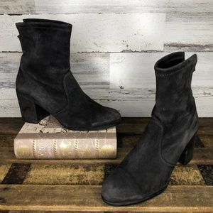 Stuart Weitzman stretch suede shorty sock booties
